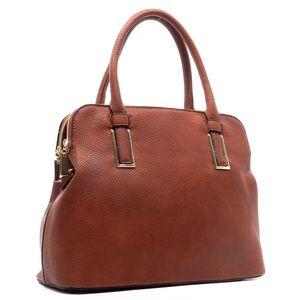 Handbags - Tobacco colored, double zipper satchel.