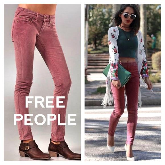 Free People Pants - FREE PEOPLE Rose Pink Corduroy Skinny Jeans f41117299
