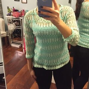 green and mint long sleeved top