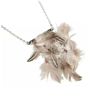 D32 Brown Beige Silver Natural Feather Necklace