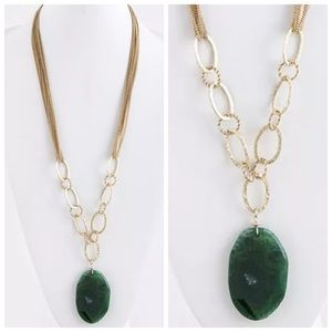 Custom Jewelry - D32 Natural Green Stone Long Statement Necklace
