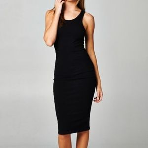 Large BLACK RACERBACK MIDI BODYCON COTTON DRESS