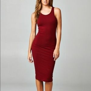 Large BurGundy RACERBACK MIDI BODYCON COTTON DRESS