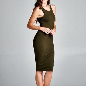 Large Olive RACERBACK MIDI BODYCON COTTON DRESS