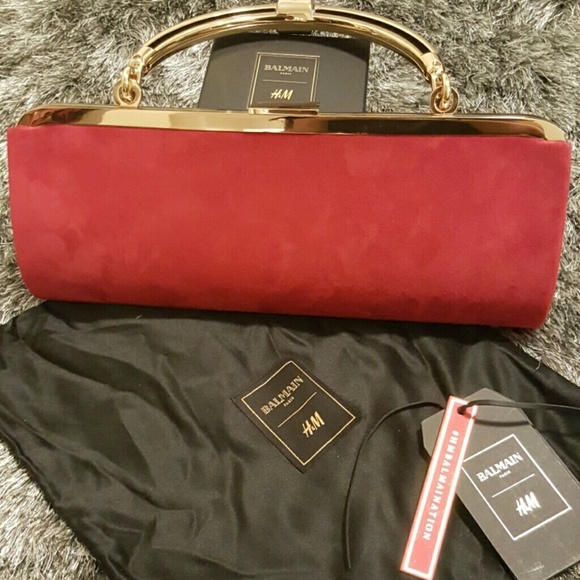 a75a1796f2d Balmain Bags   X Hm Suede Red And Gold Clutch   Poshmark