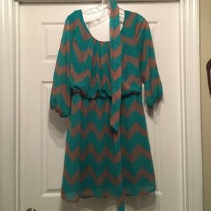 Lily Rose Dresses & Skirts - Brown and Green Chevron Dress!