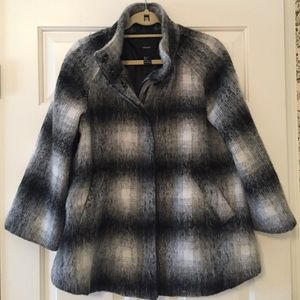Forever 21 Brushed Plaid Swing Coat Size Small