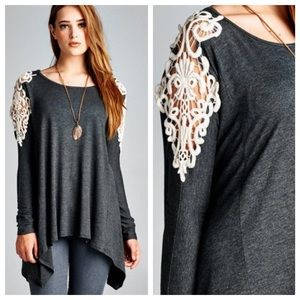 Lace Patch Shoulder Tunic {Charcoal}