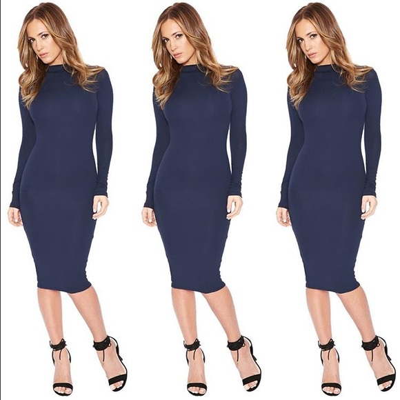 e5c688a156f9 Dresses   Skirts - Medium navy high neck long sleeve bodycon dress