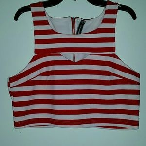 poof couture  Tops - Crop red and white top!