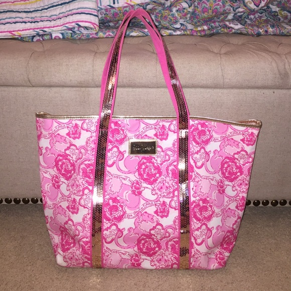 Phi Mu Giant Floral Tote Bag