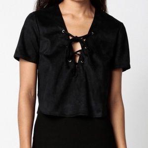 Black Faux Suede Lace Up Short Sleeve Crop Top