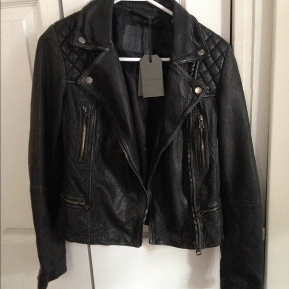 ALLSAINTS UK: Womens Balfern Leather Biker Jacket (black)