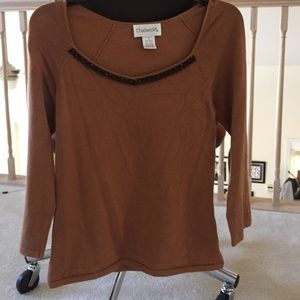 Chadwicks Sweaters - Sequin and lace collar trimmed sweater/top
