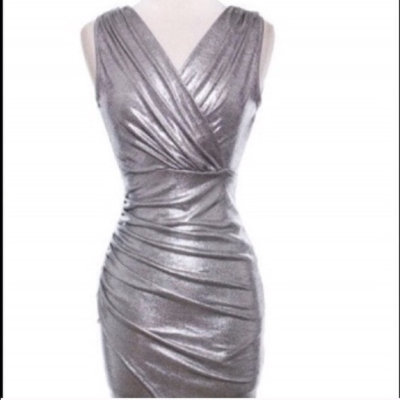 silver metallic cocktail dress
