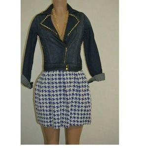 Blue Spikes Cotton Denim Jacket