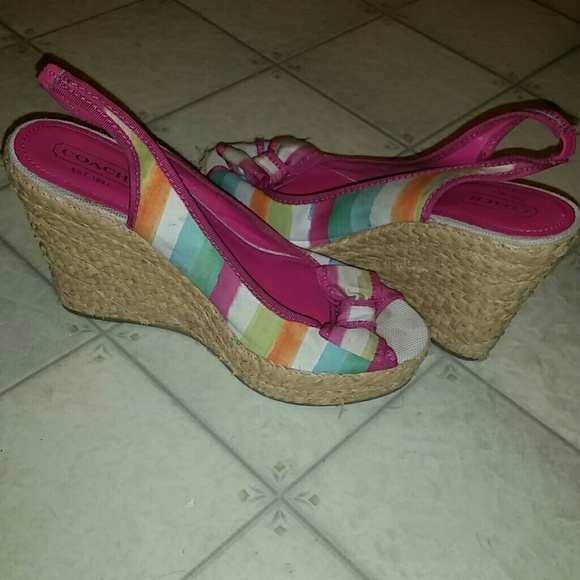 76 coach shoes coach multi colored wedge heels from