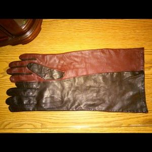 BCBGMaxAzria Leather Black/Burgundy Long Gloves