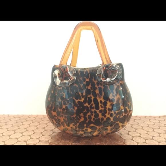 Halle Other Hand Blown Leopard Print Handbag Vase Poshmark