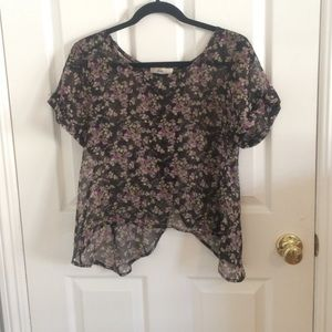 black floral sheer shirt