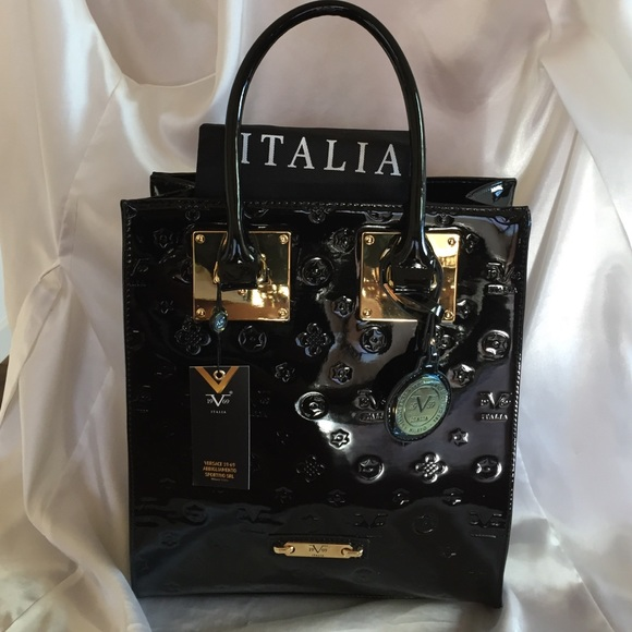 Versace 19-69 Italia Black Patent Leather Tote cf46413eaf51c