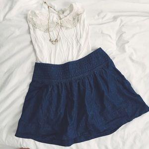Flowy denim mini skirt