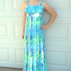 Dresses & Skirts - Justice Green and Blue Tie Dye Maxi Dress