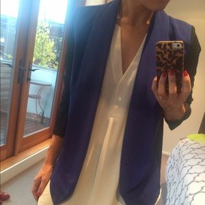 Lush Jackets & Blazers - Blue and black paneled blazer.