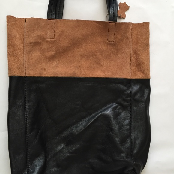 68% off H&M Handbags - H&M Black and Tan suede leather bag. from ...