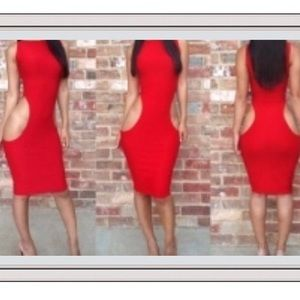 SEXY CUT OUT MIDI RED DRESS SALE FAST SHIP