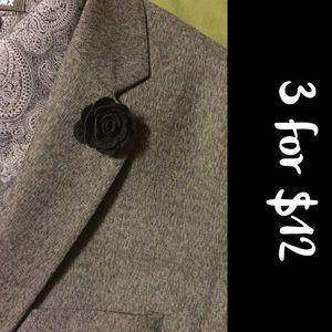 Lapel Flower - Lapel Pin Black (3 for $12)
