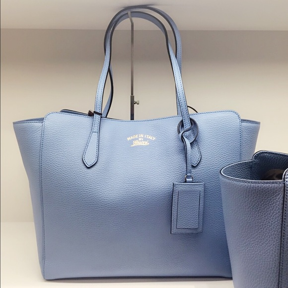 18% off Gucci Handbags - Gucci Swing light blue leather tote bag ...