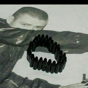 New black real looking stretch bullets bracelet