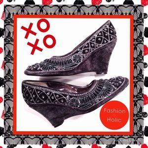 Fabulous Furs Shoes - FABULOUS FURS Pewter Velvet Sequined Wedges, 7 M