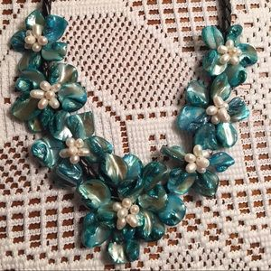 Jewelry - Cultured pearl and shell leather braid necklace