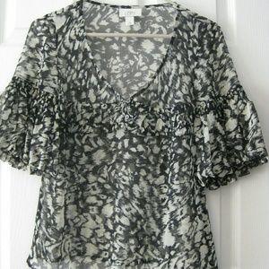 Loft Womens print Sheer Shirt Top Size XS