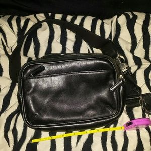 Black leather fanny coach