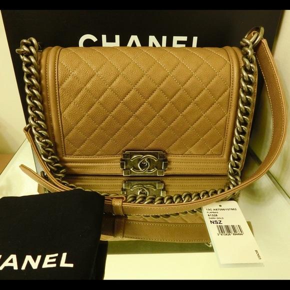 59a843e98fcd CHANEL Bags   Auth Caviar Boy Medium In Dark Gold Color   Poshmark