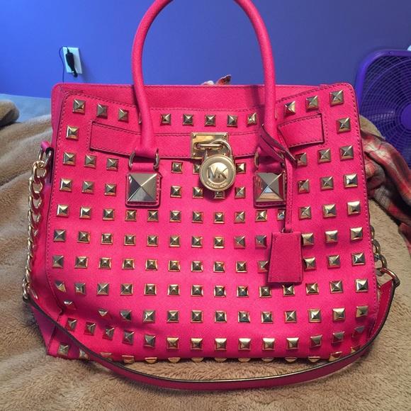 023f5f853f5f0e Authentic Michael Kors pink studded Hamilton bag. M_563ee7d17fab3a2a420172e1