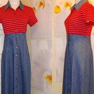 Dresses & Skirts - 70s VINTAGE  Button aDown Maxi Jean Dress