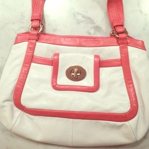 Coach Leather Cricket Satchel Bag Tote 13601 Coral