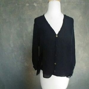 Aaron ashe Tops - Black Drapey Top with gold buttons