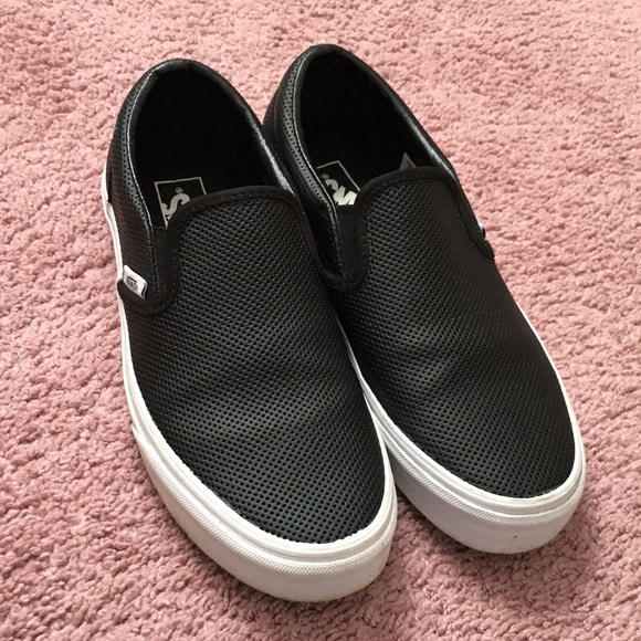 7359b3c81a031 Black leather slip on vans MENS 6.5 WOMENS 8. M 563f6c81680278b4bf018e72
