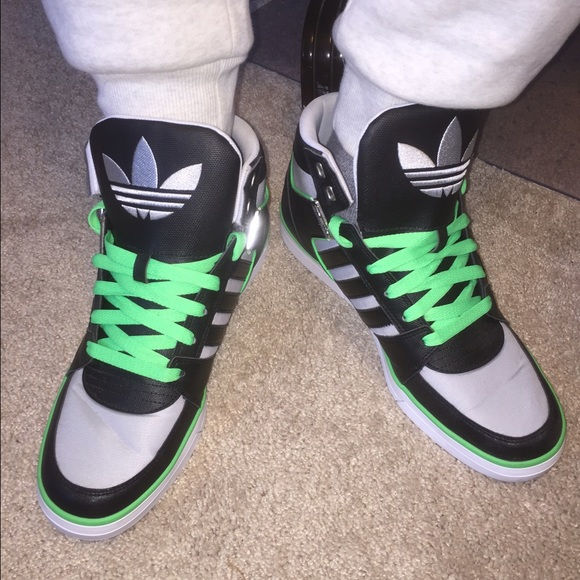 adidas shoes high tops green. adidas shoes - mens high top sneakers black green like new tops h