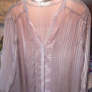 Light pink, sheer, button down Gentlefawn blouse
