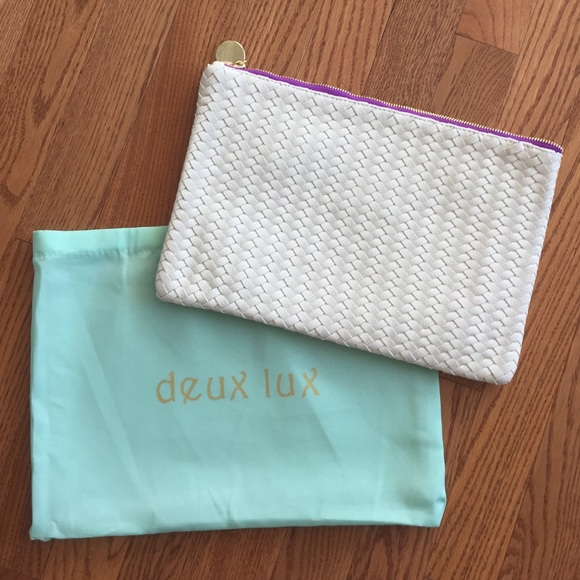 Deux Lux Bags - Cream/ White Deux Lux Woven Clutch
