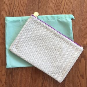 Cream/ White Deux Lux Woven Clutch