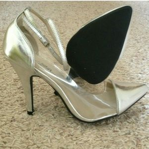 Shoes - Silver and clear heels