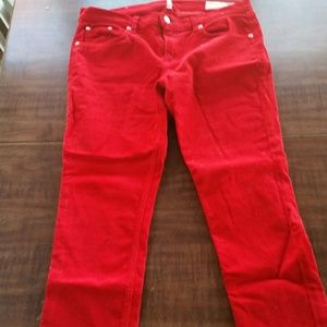 Rag & Bone Red Corduroy Skinnies