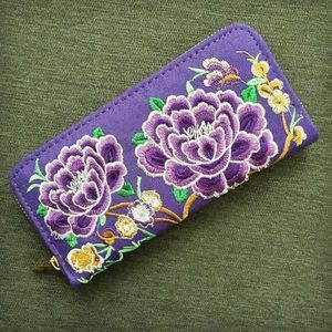 Handbags - Purple Embroidered Floral Wallet from Taiwan